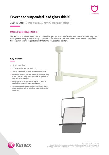 Overhead ceiling mounted shield 350