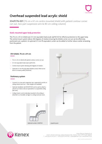 Overhead ceiling mounted shield 354