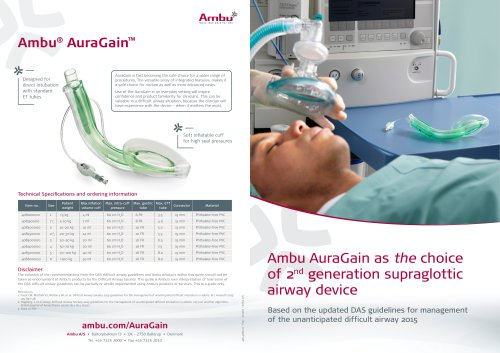 Ambu AuraGain as the choice of 2nd generation supraglottic airway device