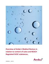 Overview of Ambu's Medical Devices in relation to content of Latex and REACH Regulated SVHC substances.