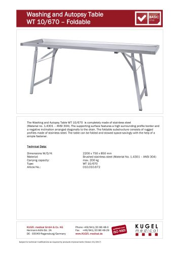 Washing and Autopsy Table  WT 10/670  – Foldable
