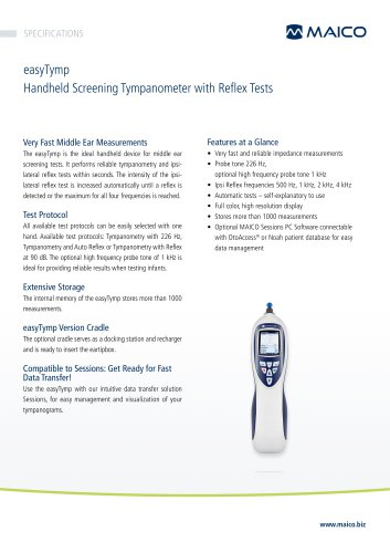 easyTymp Handheld Screening Tympanometer with Reflex Tests