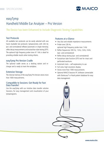 easyTymp Pro Handheld Middle Ear Analyzer