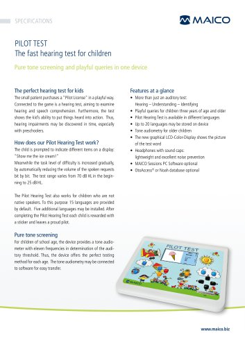 The fast and funny speech test for children PILOT HEARING TEST