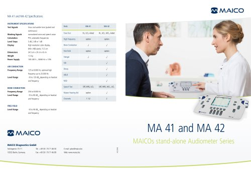 MA 41 and MA 42 Specifications