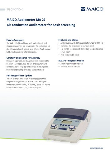 MAICO Audiometer MA 27 Air conduction audiometer for basic screening