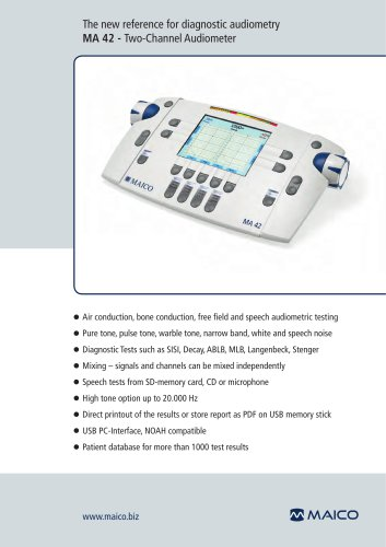 The new reference for diagnostic audiometry MA 42 - Two-Channel Audiometer