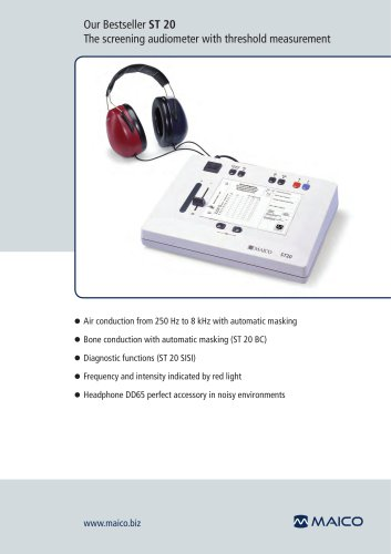 Our Bestseller ST 20 The screening audiometer with threshold measurement