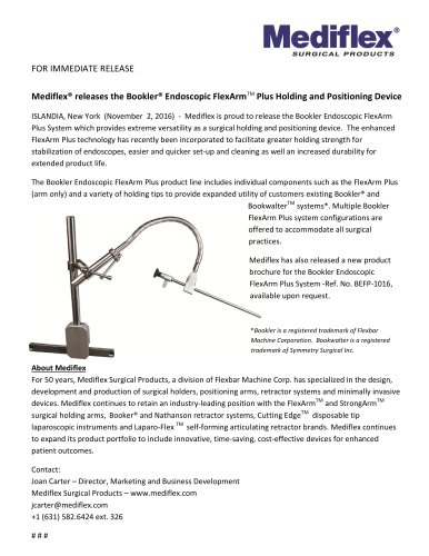 Bookler® Endoscopic FlexArmTM Plus Holding and Positioning Device