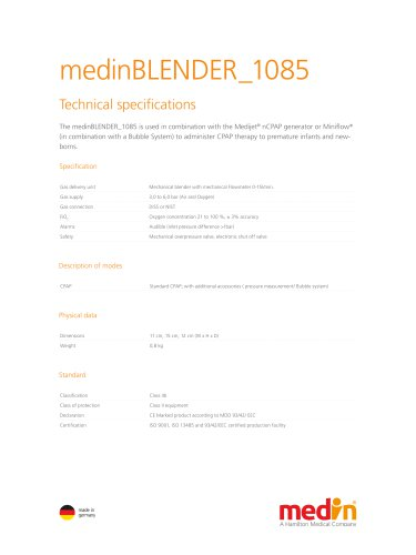 Technical Specifications medinBLENDER 1085