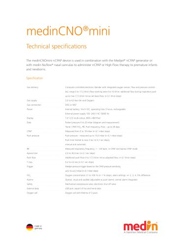 Technical Specifications medinCNO®mini