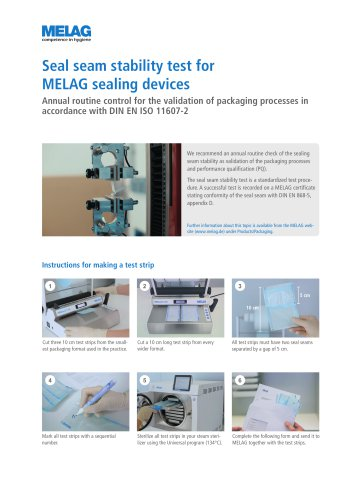 Seal seam stability test for MELAG sealing devices
