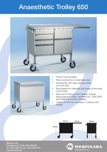 Anaesthetic Trolley 650