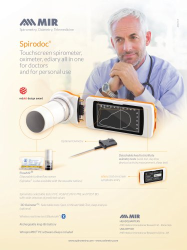 Spirodoc® Touchscreen spirometer, oximeter, ediary all in one for doctors and for personal use