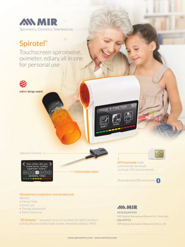 Spirotel® Touchscreen spirometer, oximeter, ediary all in one for personal use