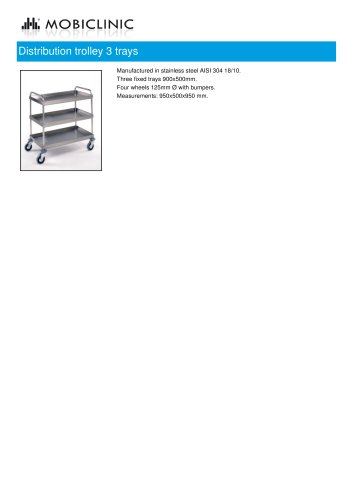 Distribution trolley 3 trays