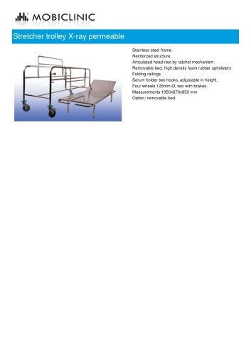 Stretcher trolley X-ray permeable