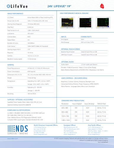 "LifeVue 19"" 24V Technical Spec Sheet"