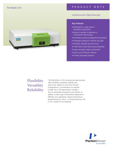 Flexibility Versatility Reliability with LS 55 Luminescence spectrometer