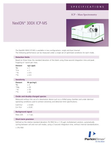 NexION 300X ICP-MS Specifications