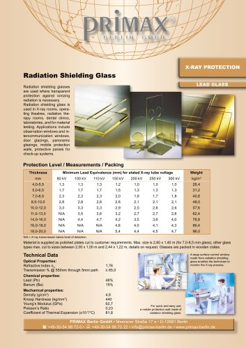 X-RAY PROTECTION LEAD GLASS
