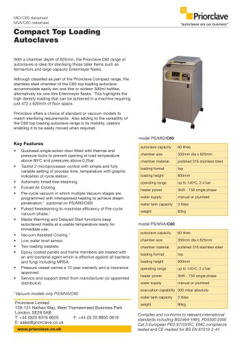 Compact Top Loading 60L Priorclave Datasheet