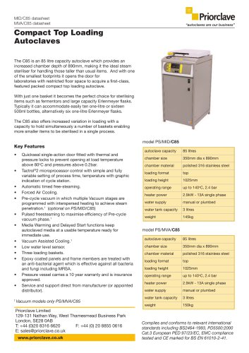 Compact Top Loading C85 autoclave