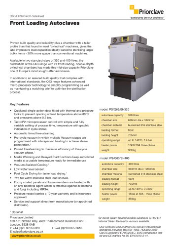 Front Loading 320 & 400L Priorclave Datasheet