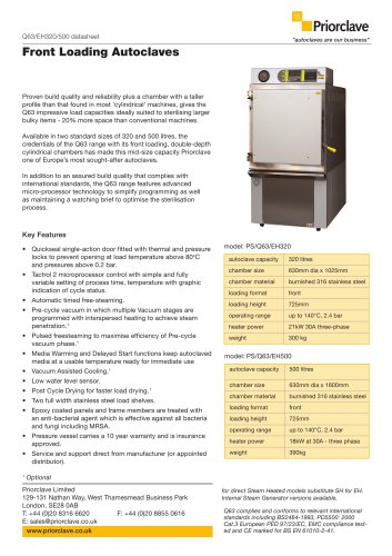 Front Loading 320 & 500L Priorclave Datasheet