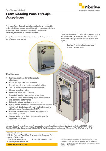 Front Loading Pass-Through Autoclaves
