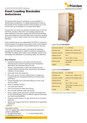 Front Loading Stackable autoclaves