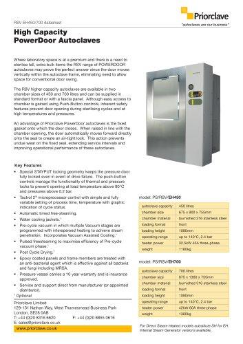 Rectangular Powerdoor 450 & 700L Priorclave Datasheet