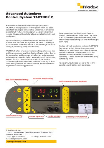 TACTROL®2 Advanced Autoclave Control System