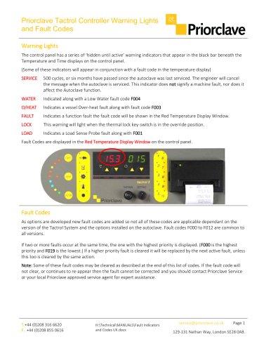 Warning Indicators and Fault Codes