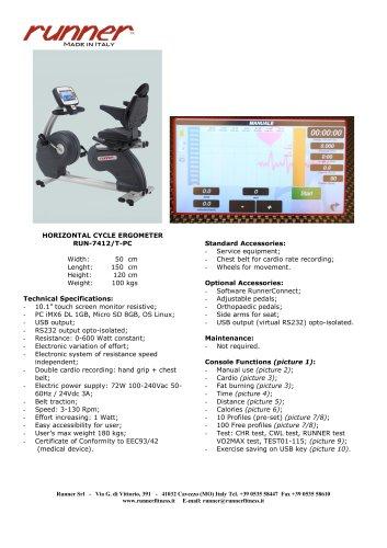 HORIZONTAL CYCLE ERGOMETER   RUN-7412/T-PC