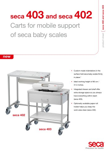 seca 403 and seca 402 Carts for mobile support of seca baby scales