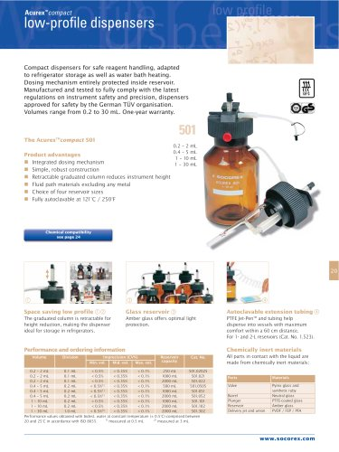 Acurex™501 compact dispensers