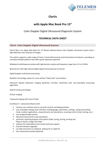 ClarUs with Apple Mac Book Pro 13? Color Doppler Digital Ultrasound Diagnostic System TECHNICAL DATA SHEET