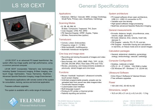 LS 128 CEXT General Specifications