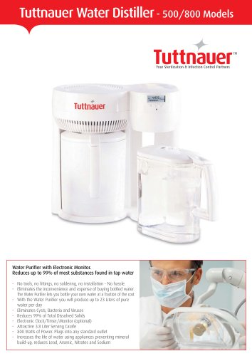 Tuttnauer Water Distiller  - 500/800 Models