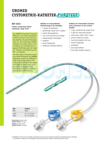 UROMED Cystometry Catheter PURgreen®, female, 2-way