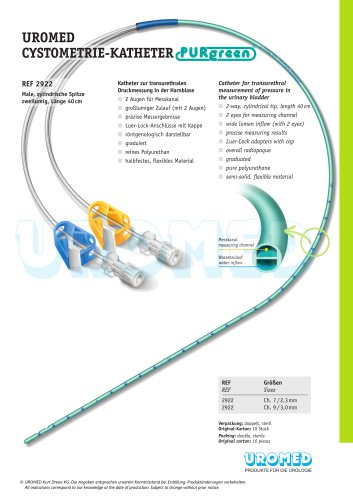 UROMED Cystometry Catheter PURgreen®, male, 2-way