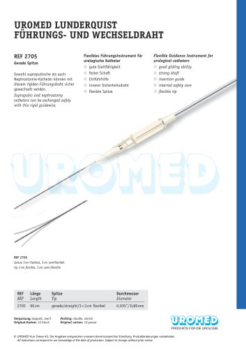 UROMED Lunderquist Guidewire, straight tip