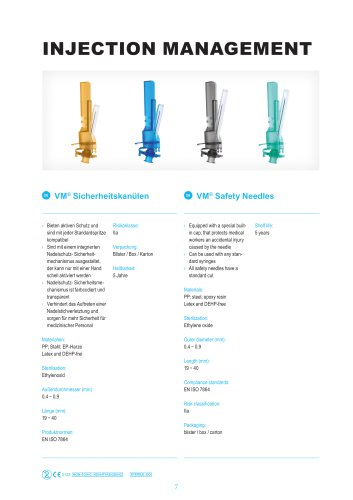 VM® Safety syringes and needles