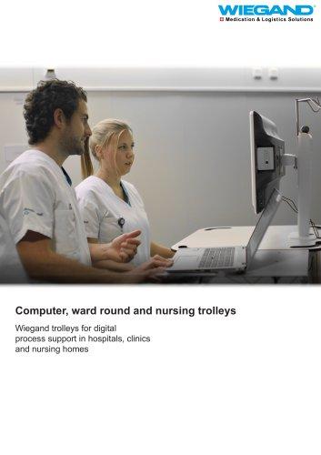 Computer, ward round and nursing trolleys