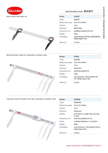 Mechanical portable height rod double scale