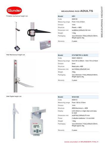 Wall mechanical height rod