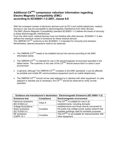 Additional CX PRO compressor nebuliser information regarding Electro Magnetic Compatibility (EMC) according to IEC60601-1 -2:2001, clause 6.8
