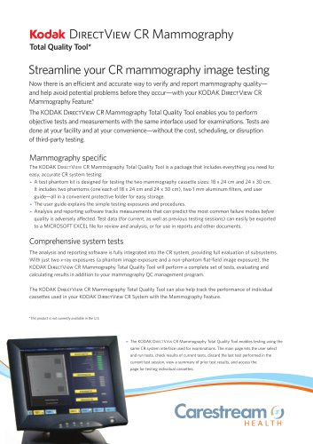 DIRECTVIEW CR Mammography Total Quality Tool