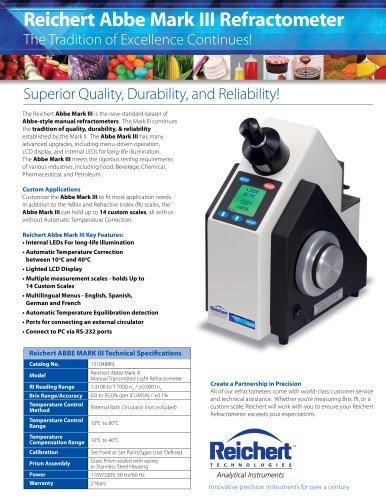 Abbe Mark III Refractometer Brochure